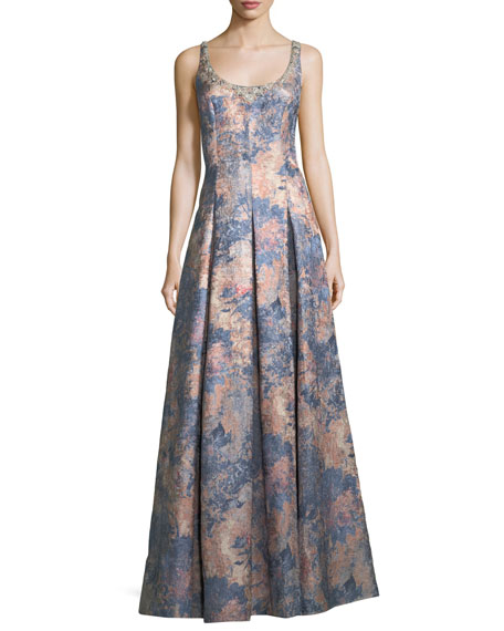 Embellished Scoop-Neck Sleeveless Jacquard Gown