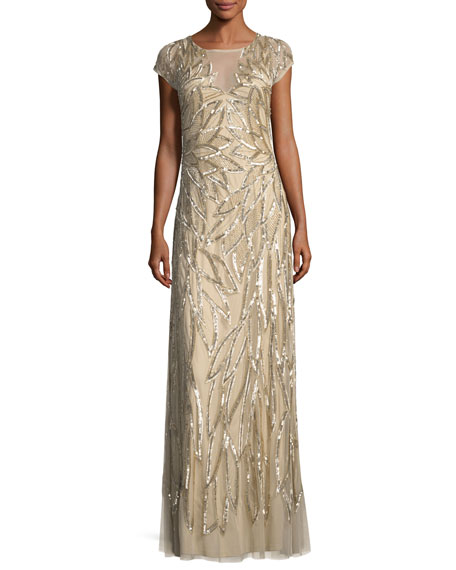 Aidan Mattox Embellished Leaf-Motif Short-Sleeve Gown