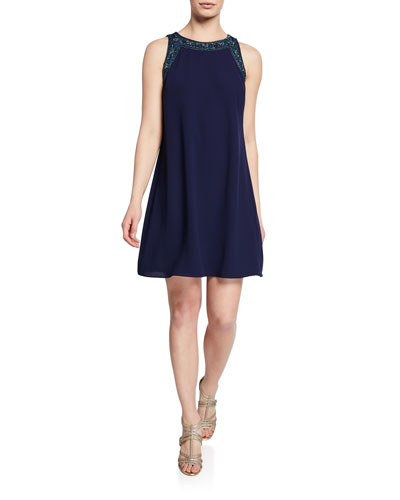 Beaded Trapeze Sleeveless Mini Cocktail Dress