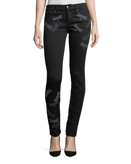 REDValentino Dragonfly Patch Skinny Jeans