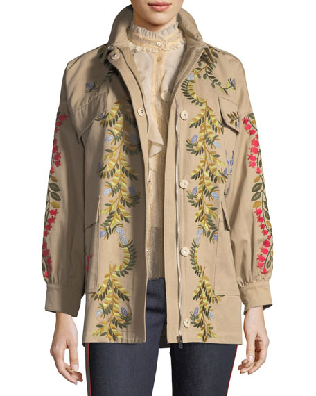REDValentino Floral-Vines Embroidered Cotton Jacket