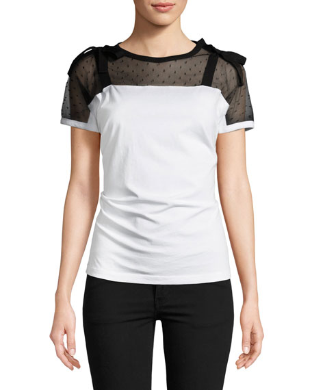REDValentino Point d'Esprit-Yoke Jersey T-Shirt