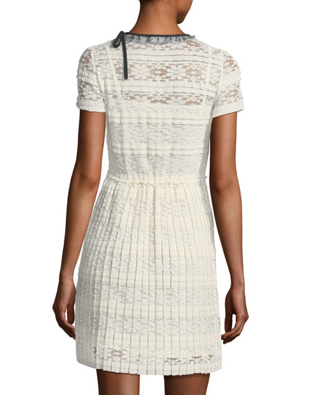 Jersey Lace Short-Sleeve Dress