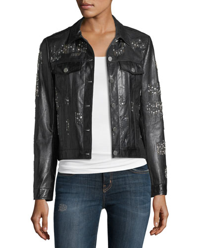 Leather Crystal Motorcycle Jacket