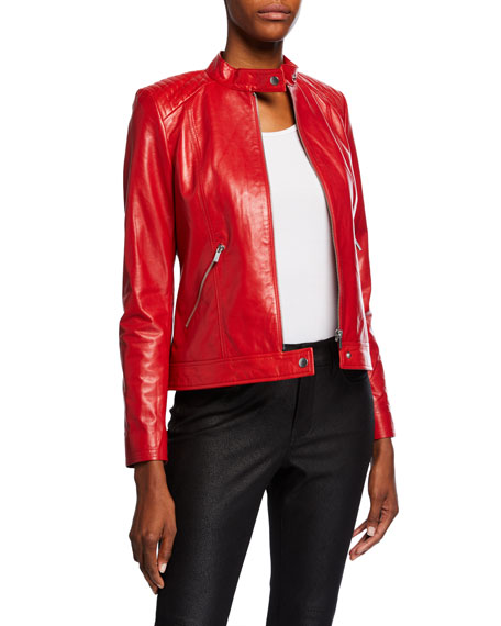 Neiman Marcus Leather Collection Leather Moto Jacket w/