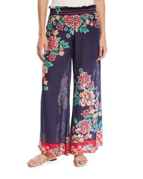Rosey Georgette Wide-Leg Pants