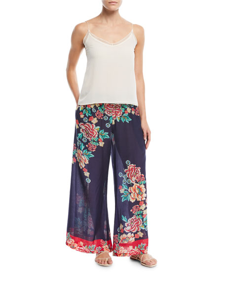 Johnny Was Rosey Georgette Wide-Leg Pants, Plus Size