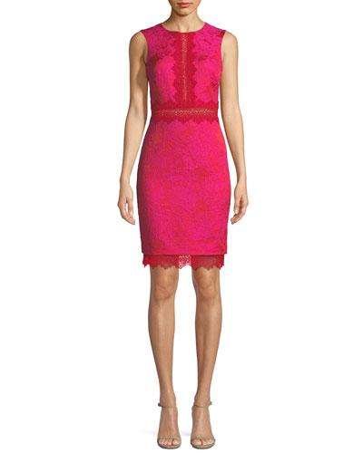 Sheath Lace-Brocade Combo Cocktail Dress
