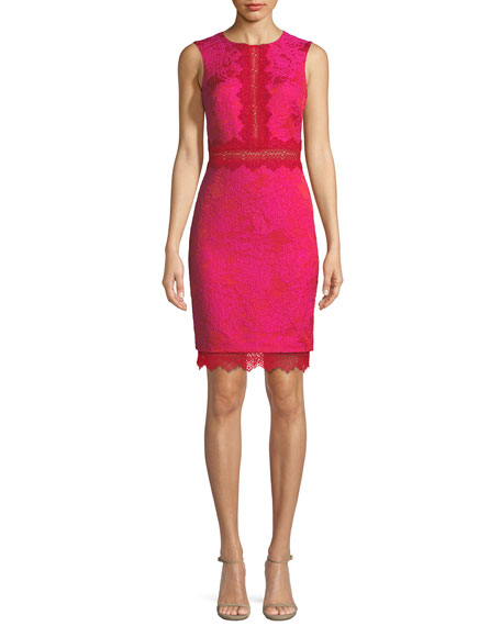 Badgley Mischka Sheath Lace-Brocade Combo Cocktail Dress