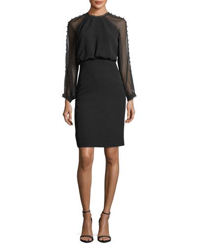 Sheer Button-Detail Long-Sleeve Dress