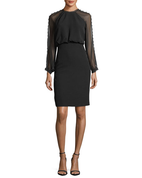 Badgley Mischka Sheer Button-Detail Long-Sleeve Dress
