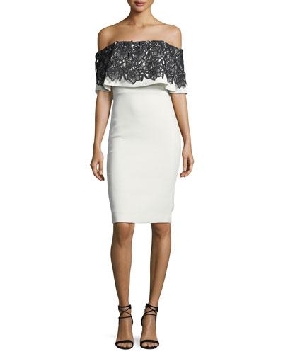 Lace-Trim Popover Sheath Dress