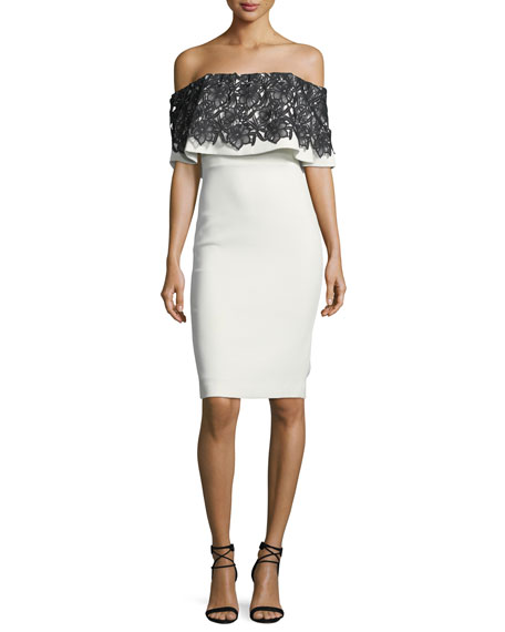 Lace-Trim Popover Sheath Dress