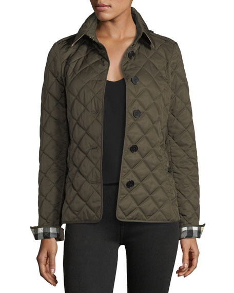 Burberry Frankby Quilted Jacket, Dark Olive