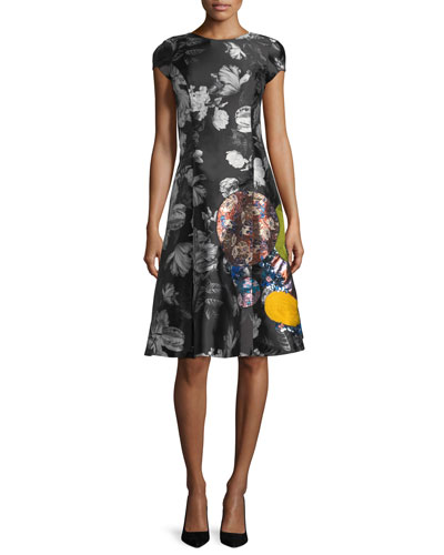 Cicely Embroidered Short-Sleeve A-Line Cocktail Dress