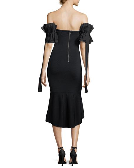 Meksin Flared Ruffle Short-Sleeve Knit Cocktail Dress