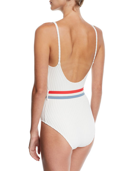The Nina Belted Ribbed Solid One-Piece Swimsuit, White