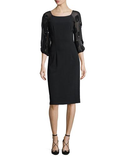 Charlotte Sequin Embellished Scoop-Neck Cocktail Dress