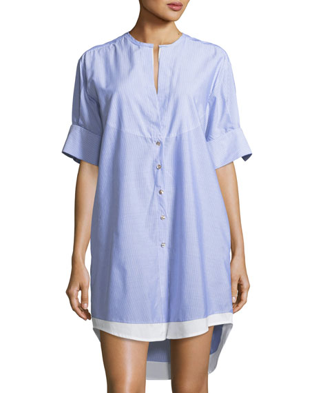 Pamela Striped Button-Front Cotton Coverup Tunic, One Size