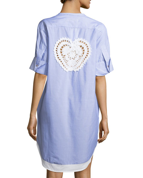 lila.eugenie Pamela Striped Button-Front Cotton Coverup Tunic,