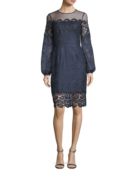 Aidan by Aidan Mattox Textured Lace Long-Sleeve Cocktail
