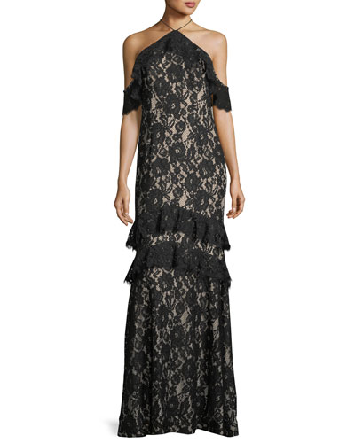 Long Lace Mermaid Cold-Shoulder Evening Gown