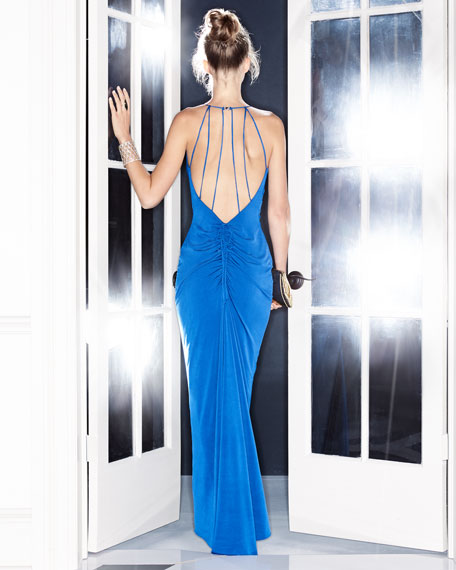 Haley Cowl-Neck Ruched-Back Evening Gown