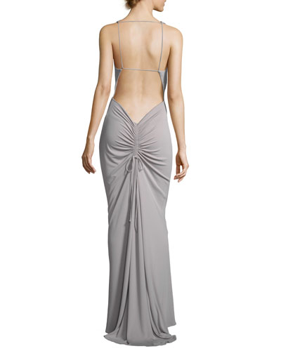 Melissa Cowl-Neck Ruched-Back Gown