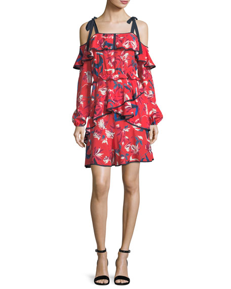 Tanya Taylor Doralee Tulip-Print Cold-Shoulder Tiered Dress