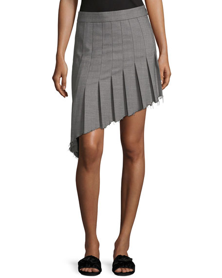 Helmut Lang Birdseye Wool Asymmetric Pleat Skirt