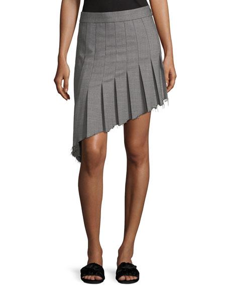 Helmut Lang Birdseye Wool Asymmetric Pleat Skirt