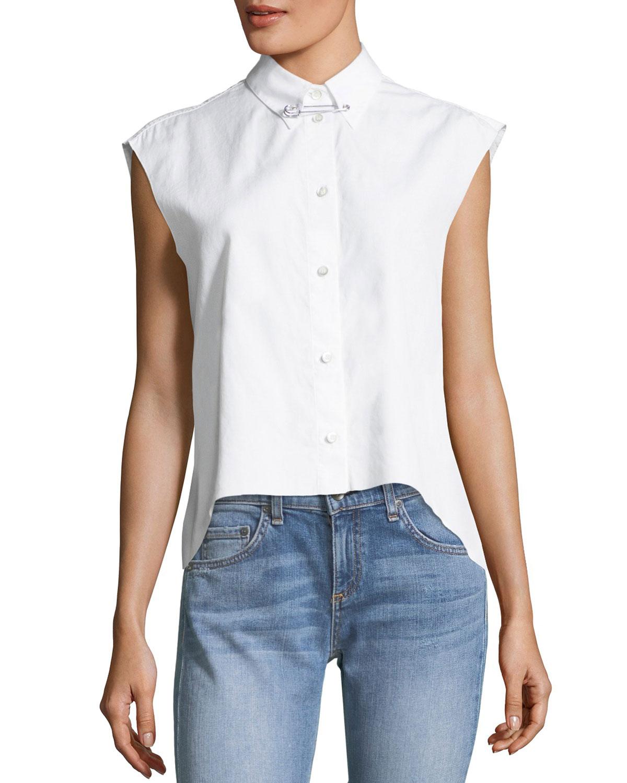 57df505e Helmut Lang Button-Front Sleeveless Cropped Poplin Shirt   Neiman Marcus