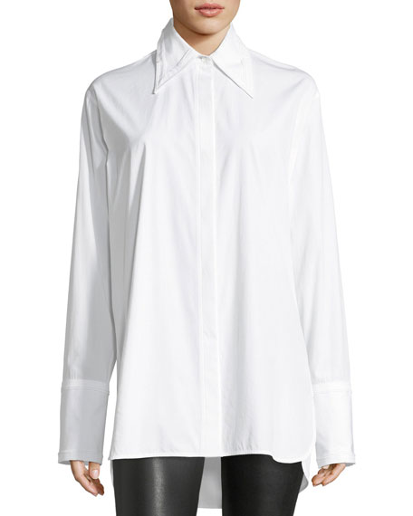 Long-Sleeve Cotton Poplin Shirt with Cutout Back