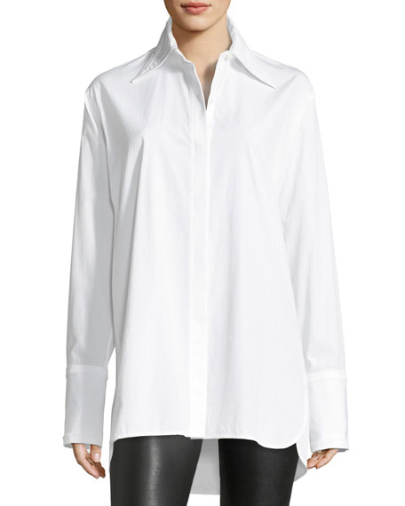 Helmut Lang Long-Sleeve Cotton Poplin Shirt with Cutout