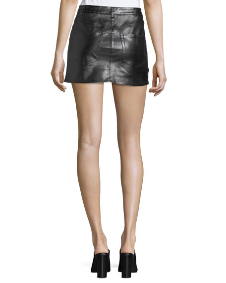 Stretch-Leather 5-Pocket Mini Skirt
