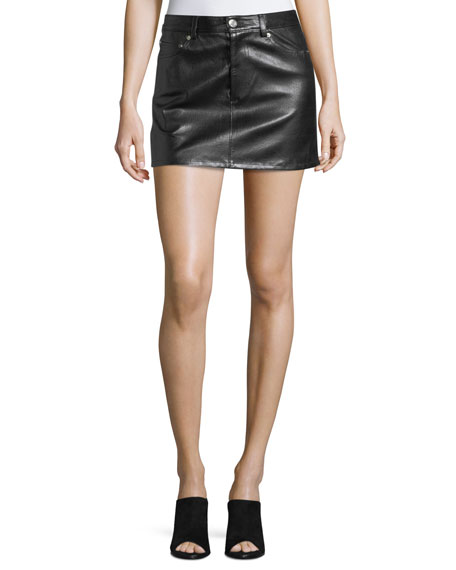 Helmut Lang Stretch-Leather 5-Pocket Mini Skirt