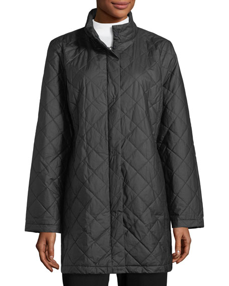 Diamond-Quilted Jacket w/ Hood