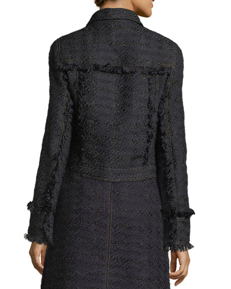 Aria Zip-Front Tweed Jacket