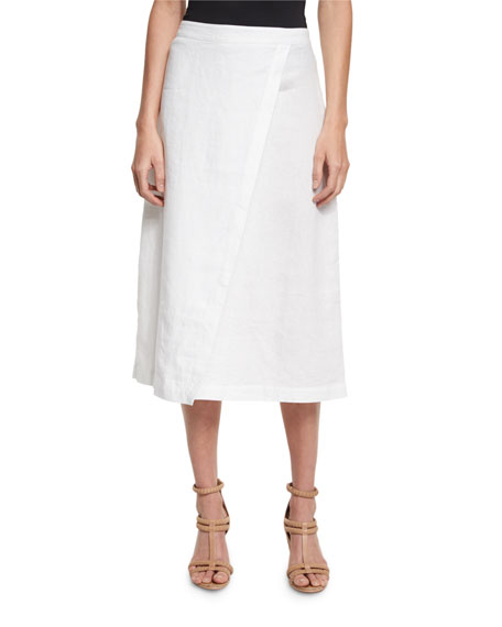 Eileen Fisher Organic Linen A-Line Wrap Skirt, White