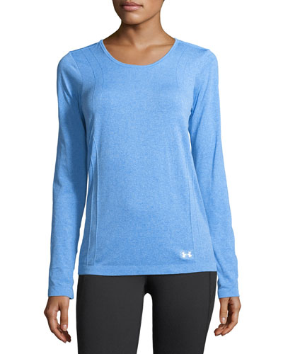 Threadborne Seamless Long-Sleeve Performance Top, Medium Blue