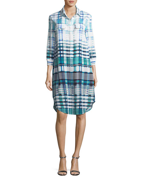 Ombré Plaid Silk-Blend Shirt Dress