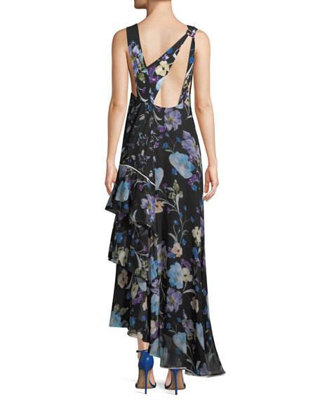 Sleeveless V-Neck Floral-Print Silk Maxi Dress