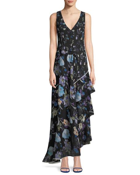 3.1 Phillip Lim Sleeveless V-Neck Floral-Print Silk Maxi