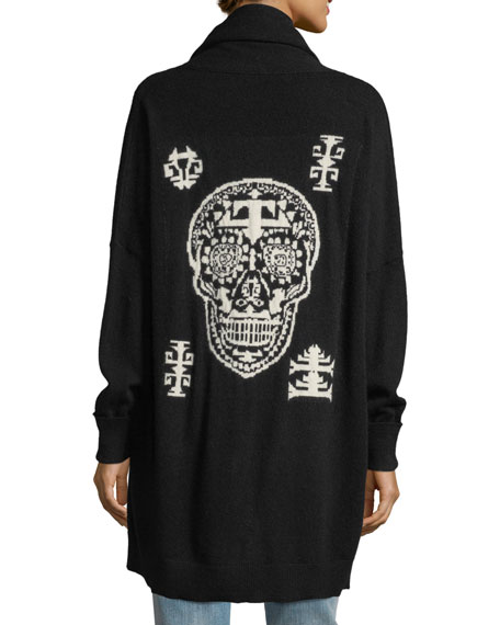 360Sweater Scarlett Open-Front Skull Intarsia Cashmere-Blend Cardigan