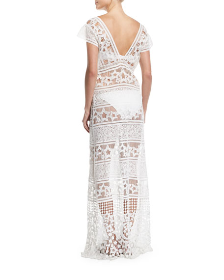 Reina Star Sheer Lace Maxi Dress Coverup