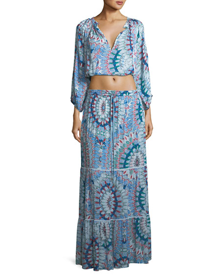 Melissa Odabash Miriam Paradise Long-Sleeve Top and Floor-Length