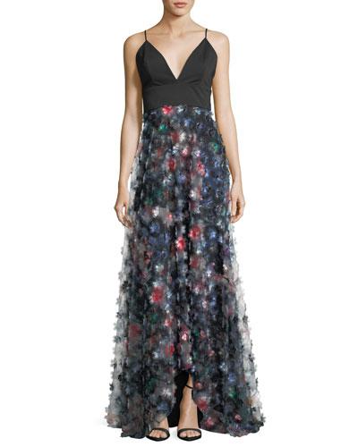 3D Floral Embellished A-Line Gown