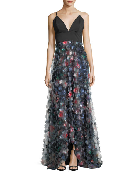 Badgley Mischka Collection 3D Floral Embellished A-Line Gown