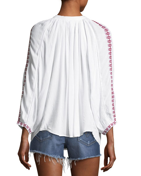Simona Lace-Up Embroidered Top, One Size