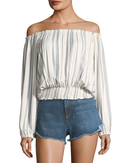 Melissa Odabash Adriana Off-the-Shoulder Striped Blouson Top, One